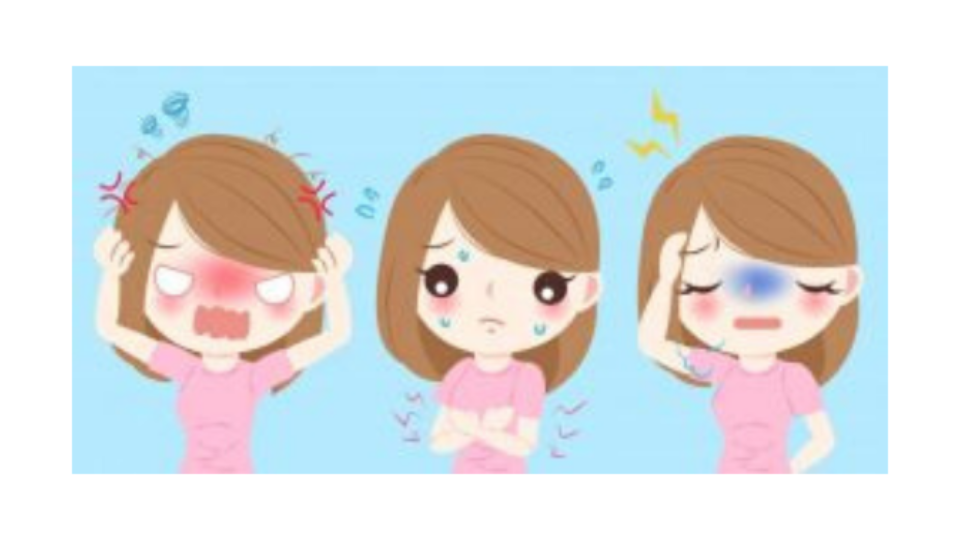 3 chicas con síndrome premenstrual