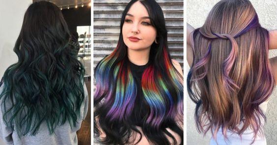 Tres chicas con cabello de colores