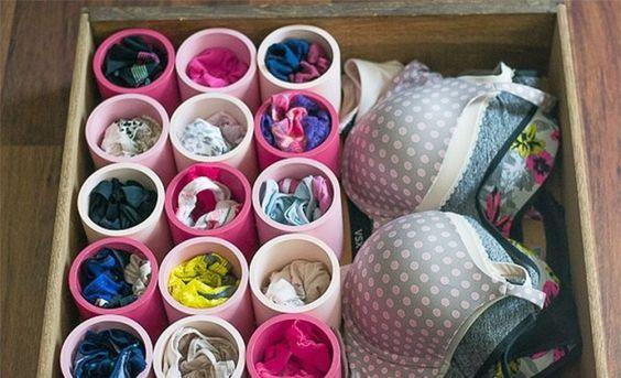 Cajón ordenado de ropa interior